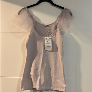 Pale purple tank top with tulle cap sleeve